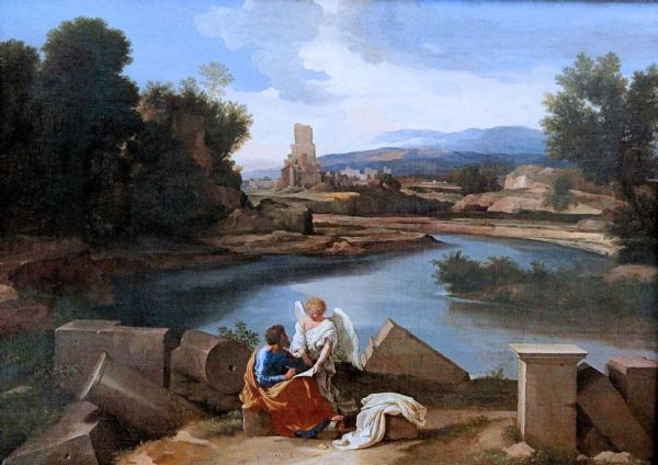 Poussin, Nicolas: Saint Matthew Writing the Gospel Under the Dictation of an Angel. Religious Fine Art Print/Poster. Sizes: A1/A2/A3/A4 (003426)